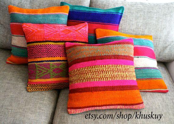 Frazada peruano mano telares de almohada cubre rayas 16 x 16