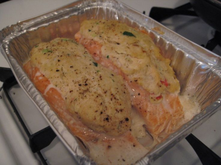 Everything is better with garlic crab stuffed salmon for Stuffed fish with crab meat