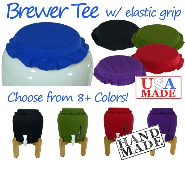 Cloth Cover for Kombucha Brewing Vessels  	Tired of wrestling with rubber bands? Frustrated by fruit flies getting into your brew? Then check out the Kombucha Kamp Brewer Cap!  We invented these stylish yet functional caps with grippy elastic to hold the cap snugly to the brewer. This prevents fruit flies, dust or other debris from getting in your brew yet makes topping off your Continuous Brew (or any other ferment) a breeze!  	Comes in a variety of fun colors. Want to mix and match?…