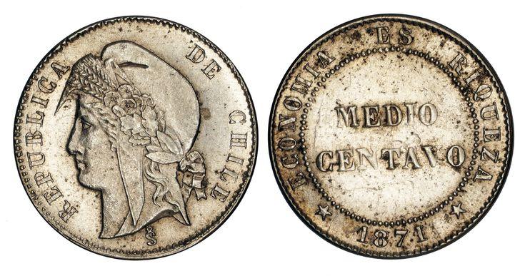 https://flic.kr/p/Sk9W3L   Medio Centavo 1871 Chile   Copper-Nickel Mintage: 133.000 Designer: Jean Bainville (FR)