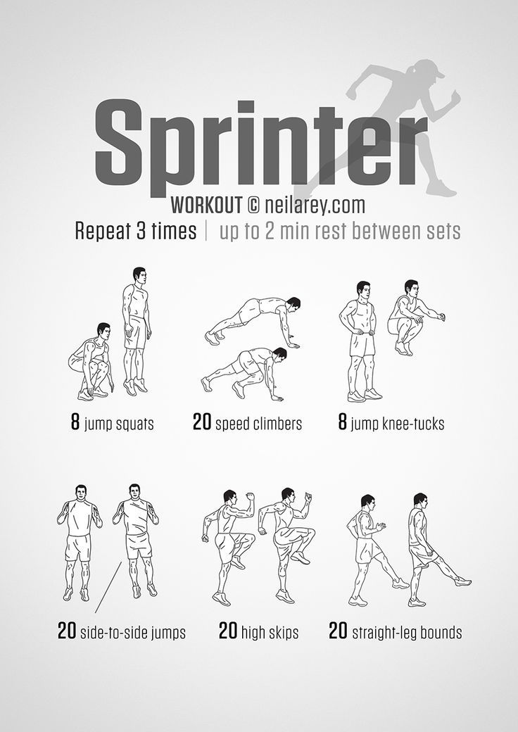 Improve your running speed with the Sprinter Workout. The routine can be done indoors as well as outdoors (High Skips & Straight-Leg Bounds). Sprinting is broken down into three stages: explosion, acceleration, deceleration. In terms of the 100m...
