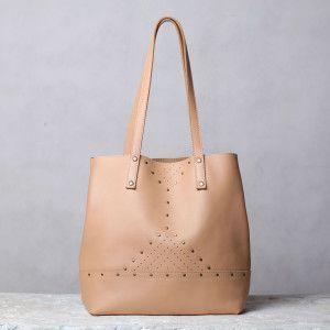 Unique beige shoulder bag by 5Plus design