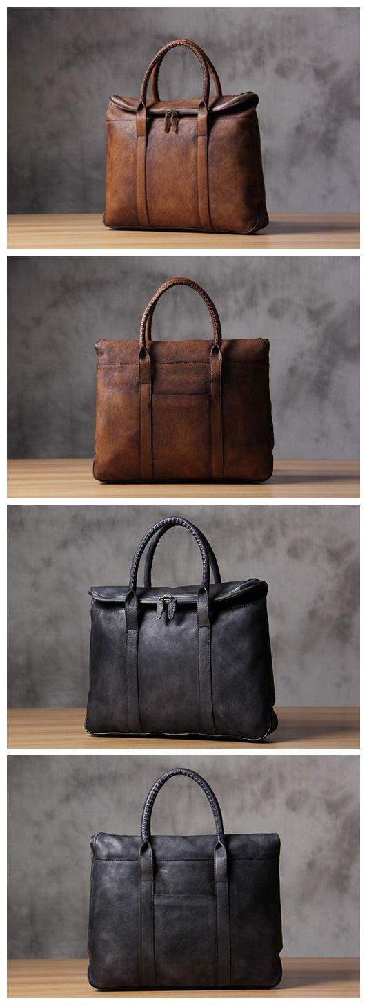 Leather Briefcase Men's Business Bag Handbag Men Fashion Laptop Bag 9069 Overview: Design: Vintage Leather Men Briefcase In Stock: 4-5 days For Making Include: Only Leather Briefcase Custom: No Color: