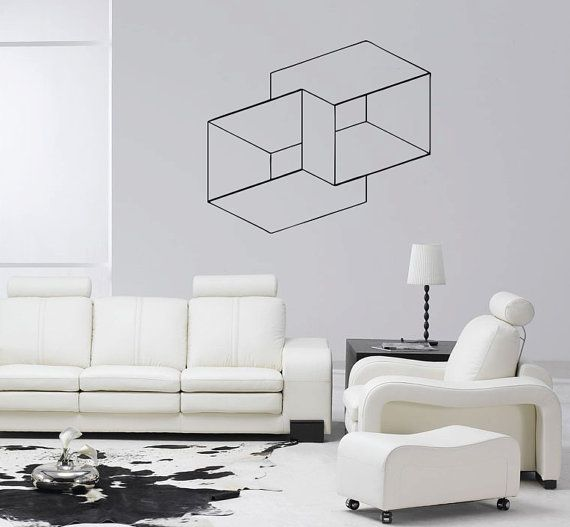 Optical Illusion Nested Cubes vinyl wall decal