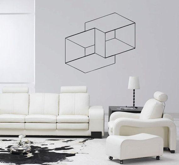 Decoración de pared removible la ilusión óptica cubos anidados vinilo pared…