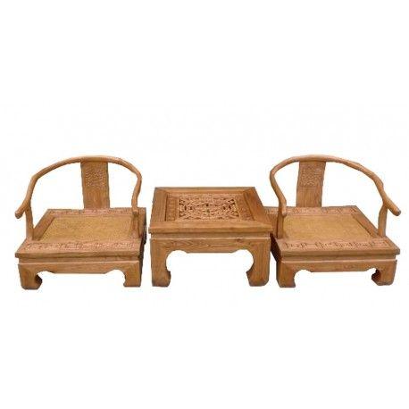 Salon vietnamien sculpté en bois d'orme massif avec 2 fauteuils et 1 table basse. Origine : VIETNAM. Frais ecotax inclus. Rêve d'Asie. Suisse.