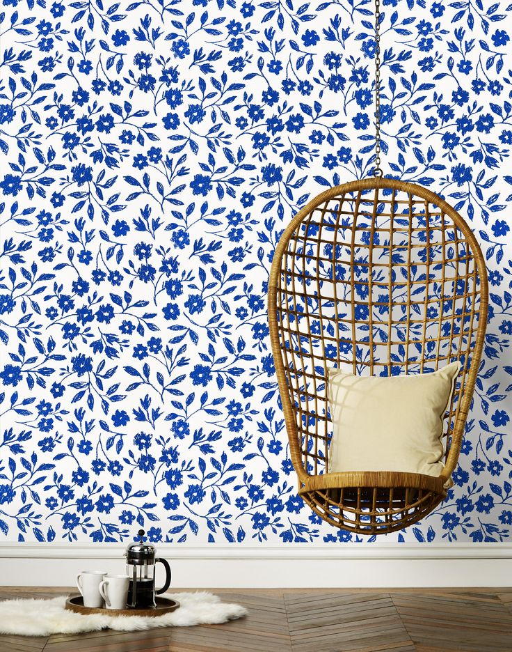 Sketchbook Floral (Blue on white) as it looks on the wall by Emily Isabella (hyggeandwest)