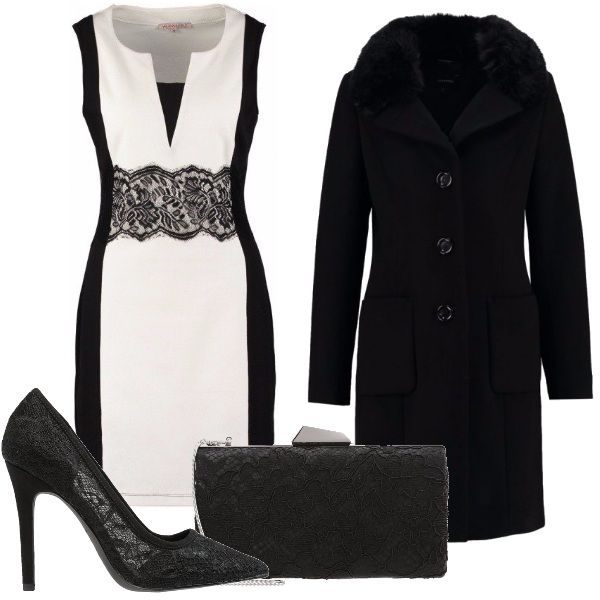 Ecco un outfit molto sensuale e decisamente di classe: vestito corto bicolore con particolare in pizzo, ripreso dalla décolleté dal tacco alto e dalla pochette nera. Cappottino nero con collo fur a completare l'outfit.
