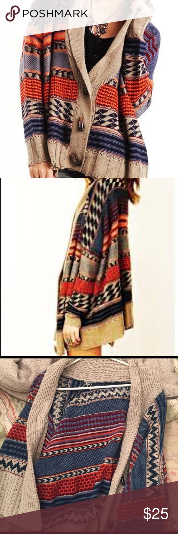 Oversized Tribal Cardigan Sweater Gorgeous oversized cardigan from an online boutique; worn once or twice but no damage. Not Free People; tagging for likeness (bought from an online boutique) Free People Sweaters Cardigans