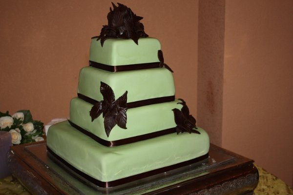 Fall Spring Winter Black Brown Green Multi-shape Square Wedding Cake
