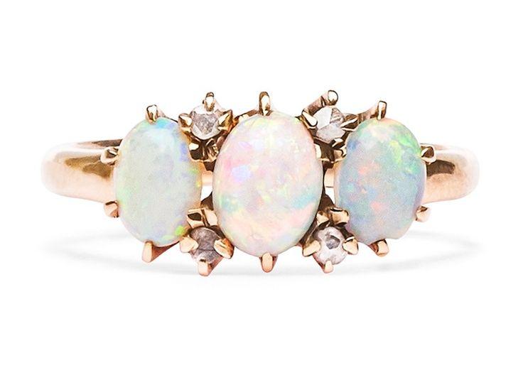 vintage opal ring / trumpet & horn... beautiful!