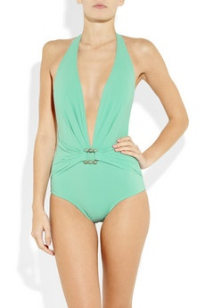 Turquoise plunge bathing suit, Karla Colletto.