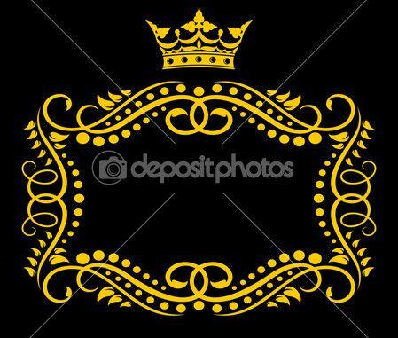 cornice d'epoca con corona — Illustrazione Stock #9452228