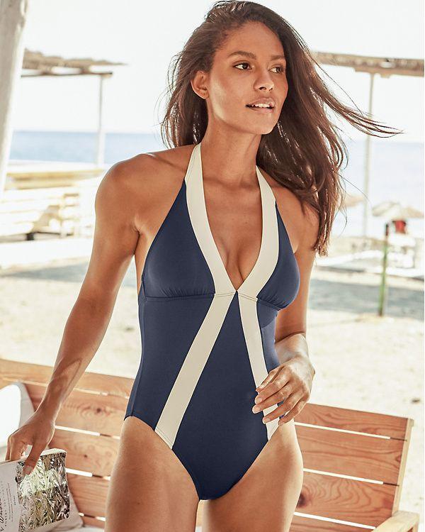 e5fc02e373 Vince Camuto Sun-Block Halter One-Piece Swimsuit | { Employee ...