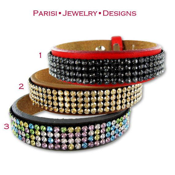 Leather Swarovski Bracelet / Crystal Mesh by ParisiJewelryDesigns
