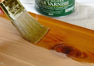 Spar varnish is perfect for outdoor projects & raw wood (exterior doors & trim) that will be near or on the water - also provides natural ultraviolet light protection. Use a natural-bristle brush. DIY Network