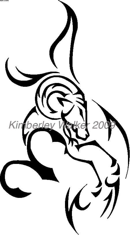 Tribal Aries Zodiac Tattoo Design