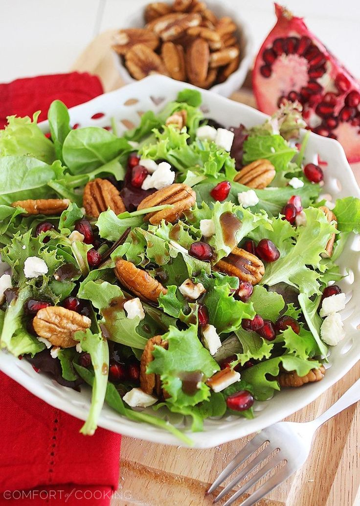 The Comfort of Cooking » Mixed Green Salad with Pomegranate Seeds, Feta and Pecans from @Georgia Johnson