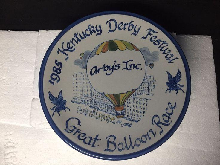 "Louisville Stoneware Hot Air Balloon PLATE ARBY'S Kentucky Derby 1985 11"" DIAMTR"
