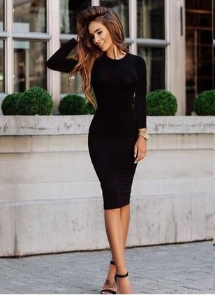 Cotton Solid Long Sleeve Mid-Calf Sexy Dresses