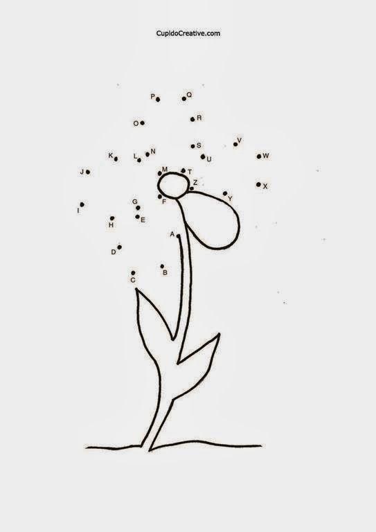 belajar huruf anak TK/balita, alfabet dot-to-dot, mewarnai bunga