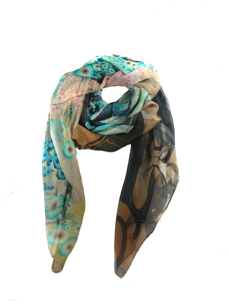 Modern Love Silk Georgette Scarf in Blue Tree