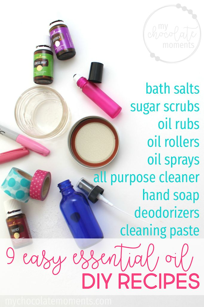 9 easy essential oil DIY recipes | bath salts | sugar scrub | essential oil roller | all purpose cleaner | hand soap | cleaning paste | Young Living