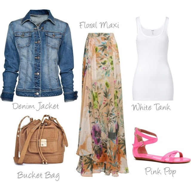 Garden Party... you're invited!: Pink Sandals, Floral Maxi, Jeans Jackets, Long Skirts, You R Invitations, Pink Shoes, Gardens Parties, Spring Outfits, Maxi Skirts