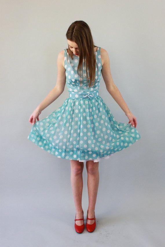 Reserved / Vintage 1960s Polka Dot Blue Ballerina Dress / Silk Chiffon / XS/S
