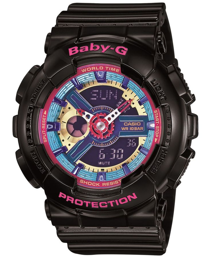 Multi-function fashion for the girl on the go, this Baby-g watch is a must-have for today's tech-savvy woman. | Black resin strap | Rounded case, 46x43x16mm | Multicolor analog-digital dial with three