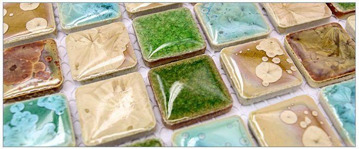 Blauw groen onyx tegels iriserende bisazza mozaïeken