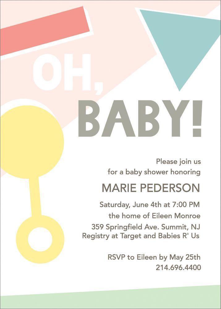 Oh Baby Geometric Baby Shower Invitation Shower Invitations Baby Shower Invitations Invitation Paper