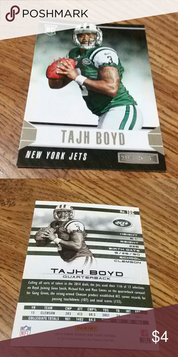 TAJH BOYD JETS ROOKIE FOOTBALL CARD TAJH BOYD JETS ROOKIE FOOTBALL CARD IN LIKE NEW CONDITION Other