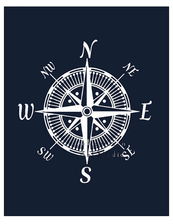 Nautical compass art print Modern nursery art by EEartstudio