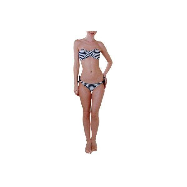 Humble Chic NY Nautical Bandeau Bikini ($30) ❤ liked on Polyvore featuring swimwear, bikinis, white, string bikini, push up bikini, white string bikini, swimsuits two piece and white bikini