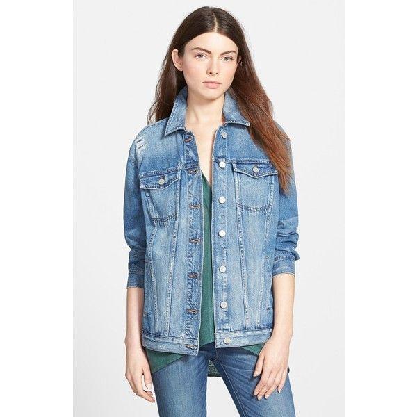 Madewell Oversize Denim Jacket (€115) ❤ liked on Polyvore featuring outerwear, jackets, lenox wash, oversized jacket, 80s fashion, 80s jean jacket, pocket jacket and blue jean jacket