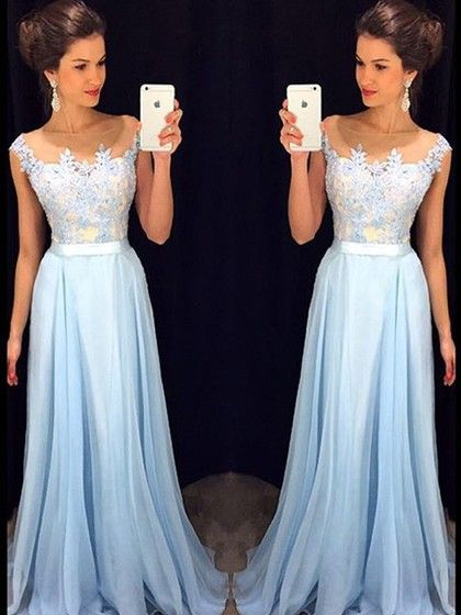Affordable Scoop Neck Blue Chiffon Tulle Appliques Lace Floor-length Prom Dresses