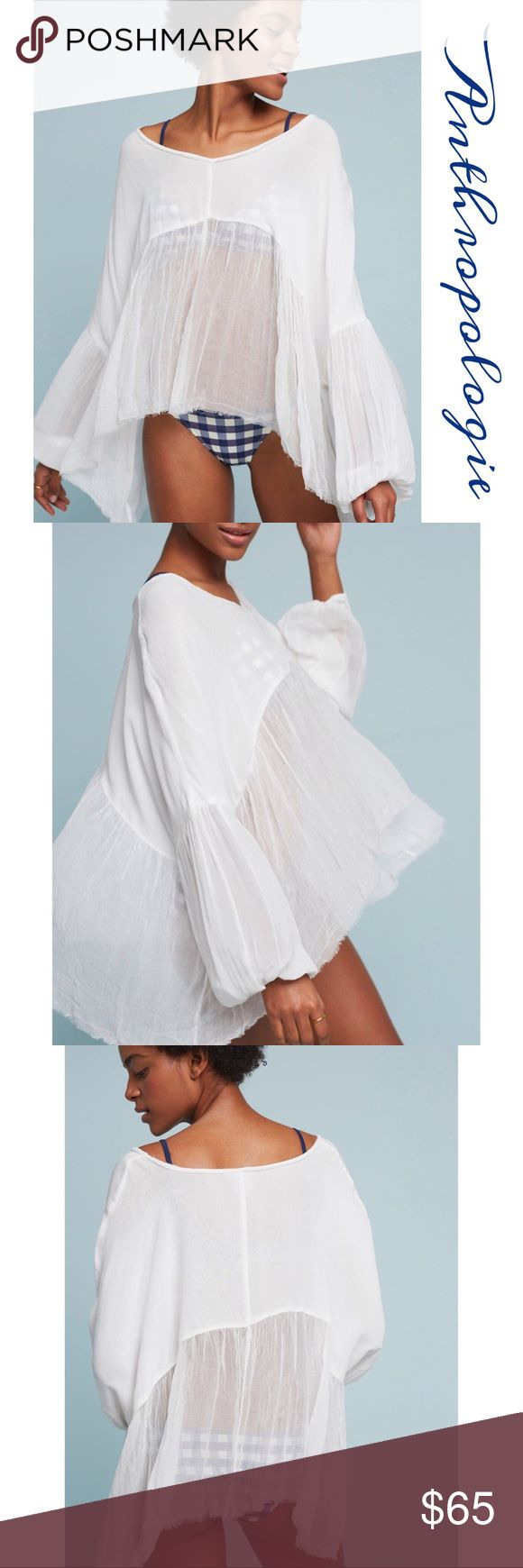 """Anthropologie White Wispy Top Gorgeous soft Lyocell-Viscose top features a V Neck, billowy sheer elastic cuff sleeves, top part is lined, bottom part is in a wispy soft gauzy fabric with raw asymmetrical Hem . Can be worn over a swimsuit it wear a Cami under if you want mor coverage..approx Measurements Length 24"""" shortest 30"""" longest, runs oversized CS will fit up to a med Anthropologie Tops"""