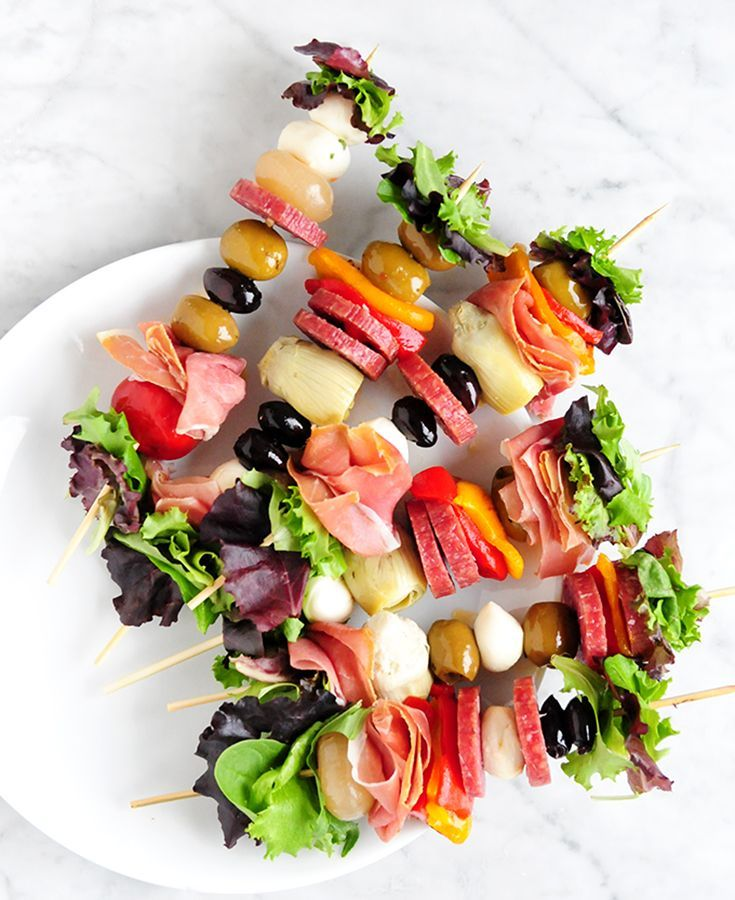 Ditch the party plates and utensils! Skewers are a colorful and convenient way to entertain for the host and party guests. Easy to make ahead for big crowds, skewered appetizers...