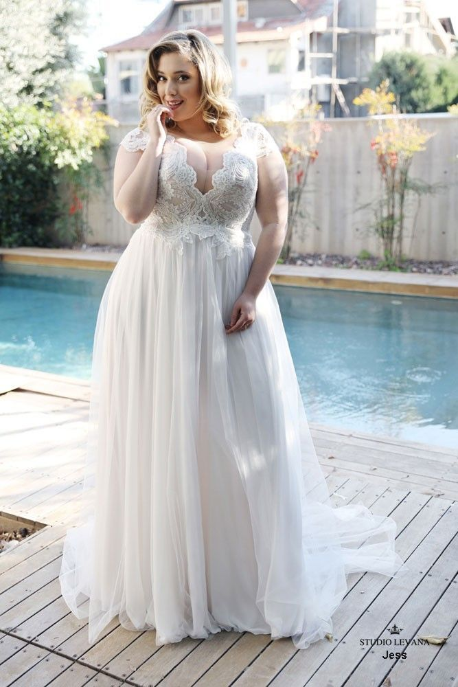 Gorgeous bohemian light and simple plus size wedding dress with chiffon and tull…