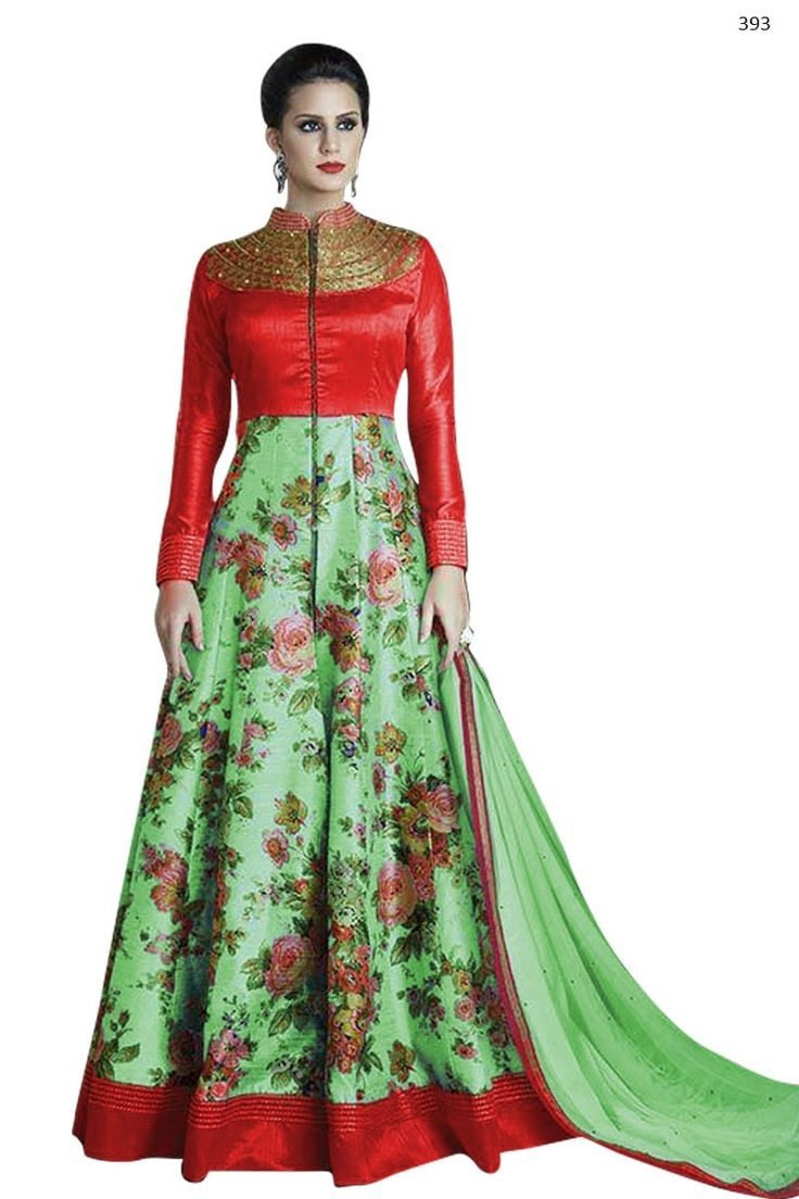 Shop Pista & Red Color Printed Designer Long Anarkali by Fablica India online. Largest collection of Latest Anarkalis online. ✻ 100% Genuine Products ✻ Easy Returns ✻ Timely Delivery