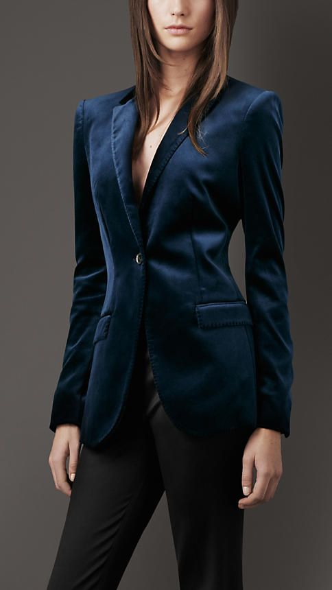 ... Burberry... who doesnt love them...??? Burberry London Stretch-Velvet Jacket