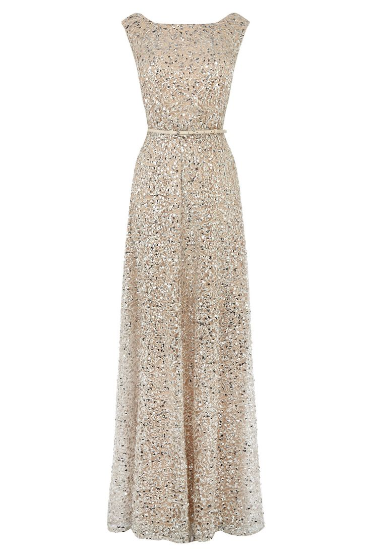 Nude neutral long gown belted shimmer Dresses | Greys DESIRE SEQUIN MAXI | Coast Stores Limited