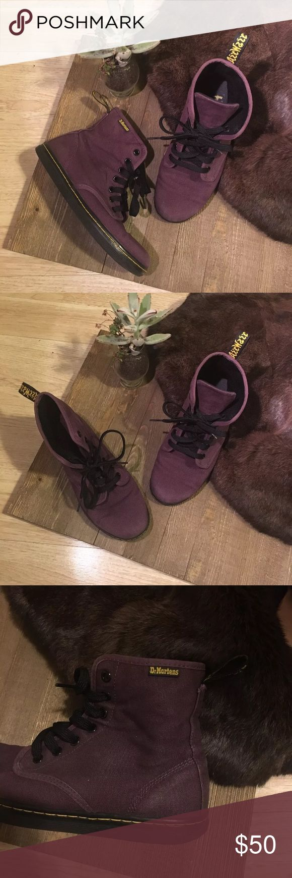 Dr. Martens Purple Canvas Boot AirWair US 7 Pre owned purple canvas Dr Martens. Only used a few times. True to size in great pre owned condition Dr Martens Shoes Combat & Moto Boots