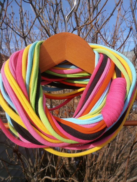 Great with t-shirts!  Infinity Scarf - VERY multi-colored on Etsy, $16.00