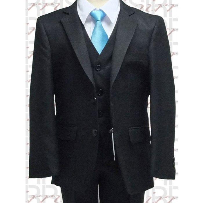 Black Suit Black Vest White Shirt Turquoise Tie Men