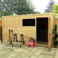 Precise dimensions: 9'11 x 6'1 (3.03 x 1.85m)   This 10x6 shed offers great value and versatility!  Self-assembly by customer (instructions supplied)  The walls of the 10x6 pent shed are tongue and groove shiplap clad, offering a weather-proof structure as opposed to an inferior overlap or a feather-edge budget style of construction usually found at this price level upon wooden sheds. Manufactured with a 27 x 32mm framing, the roof and floor of this model is solid sheet OSB. Fixed win...