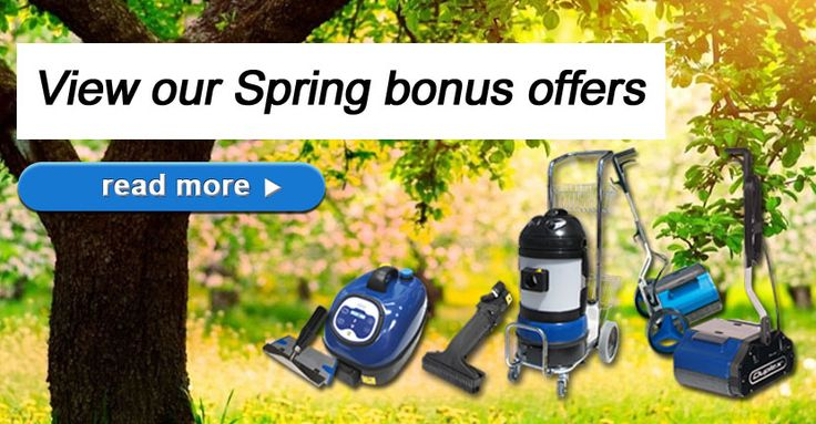 Do you want to implement a chemical-free cleaning process this Spring? Purchase any of our steam machines or floor scrubbers this September, and receive your bonus Spring gift! #spring2015 #promotion #green #cleaning #bonus #machines