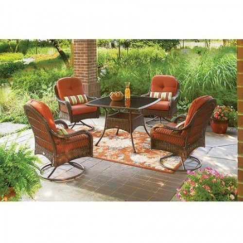 Details About Patio Dining Set 5 Piece Furniture Dinette Woven Chairs Glass Table  Porch Deck