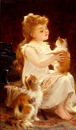 Playing With The Kitten, Emile Munier.